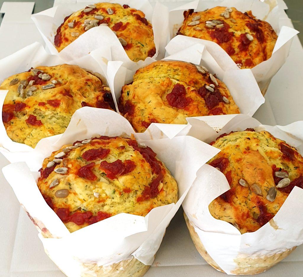 zucchinni, sweet potato & relish muffin